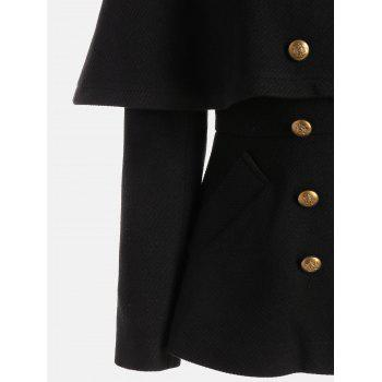High Waisted Double Breasted Short Capelet Coat - BLACK XL