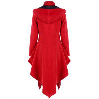 Christmas Horn Button Hooded Handkerchief Coat - RED L