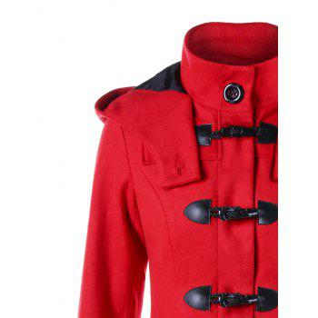 Christmas Horn Button Hooded Handkerchief Coat - RED XL