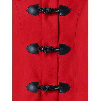 Christmas Horn Button Hooded Handkerchief Coat - RED 2XL