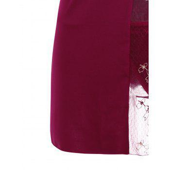 Underwire Embroidered Slip Dress - WINE RED ONE SIZE