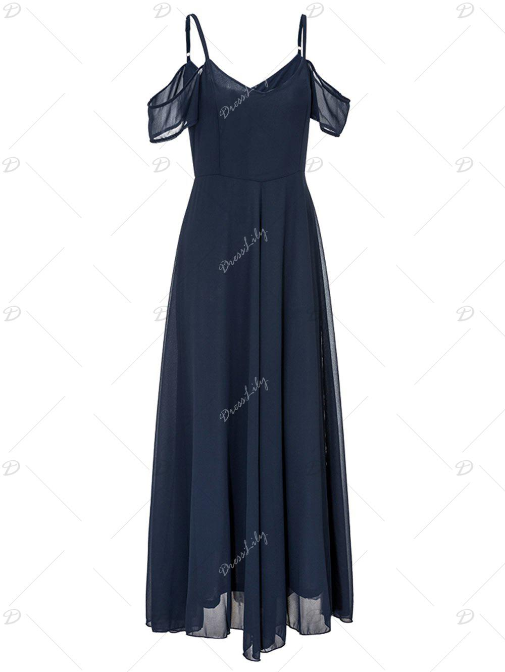 Open Shoulder Cami Strap Chiffon Maxi Dress - PURPLISH BLUE 2XL