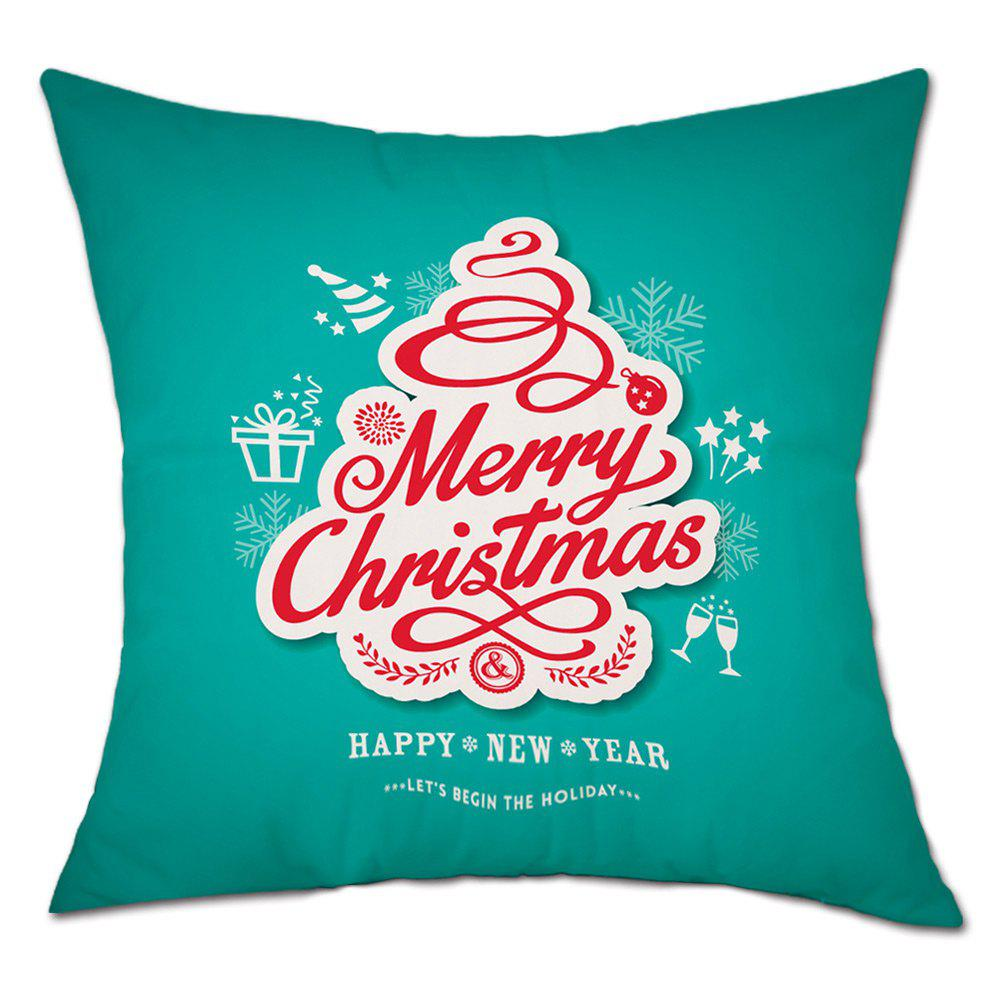 Letters Merry Christmas Print Linen Sofa Pillowcase - COLORMIX W18 INCH * L18 INCH