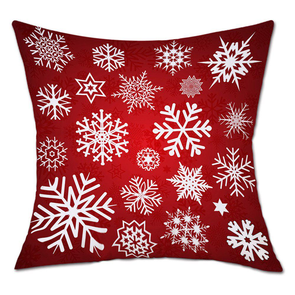 Snowflakes Christmas Print Linen Sofa Pillowcase - RED W18 INCH * L18 INCH