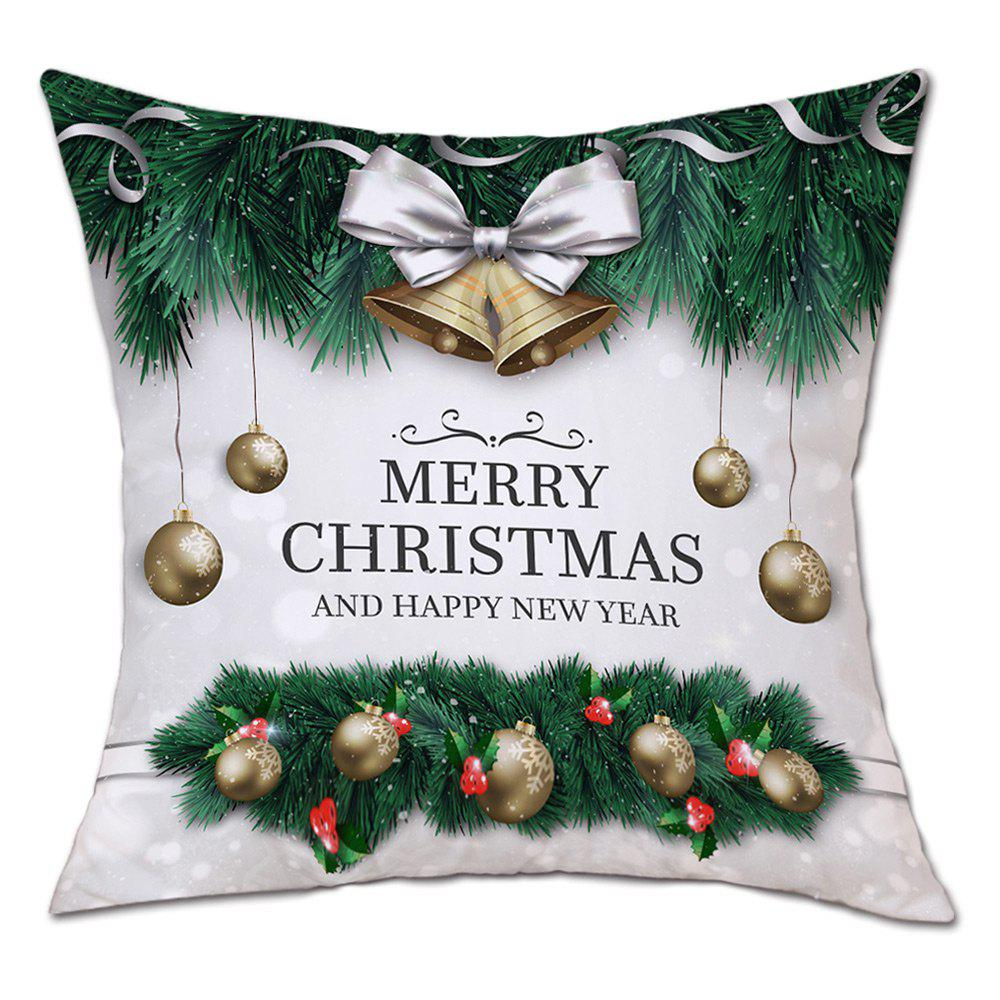 Christmas Baubles Bells Print Linen Sofa Pillowcase - GREEN W18 INCH * L18 INCH