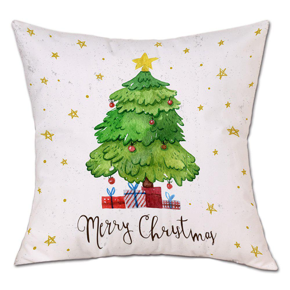 Christmas Tree Stars Print Linen Sofa Pillowcase - WHITE W18 INCH * L18 INCH