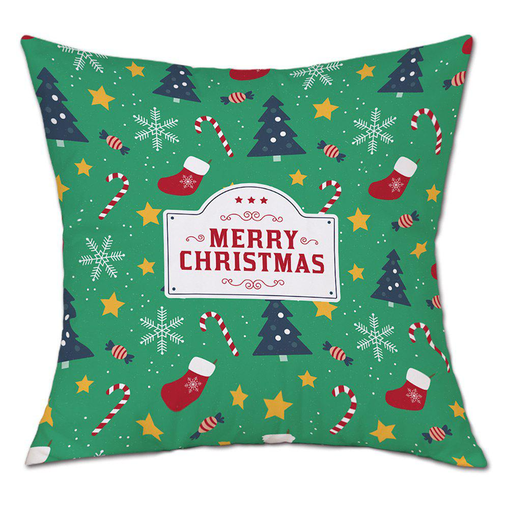Christmas Theme Print Linen Sofa Pillowcase - GREEN W18 INCH * L18 INCH