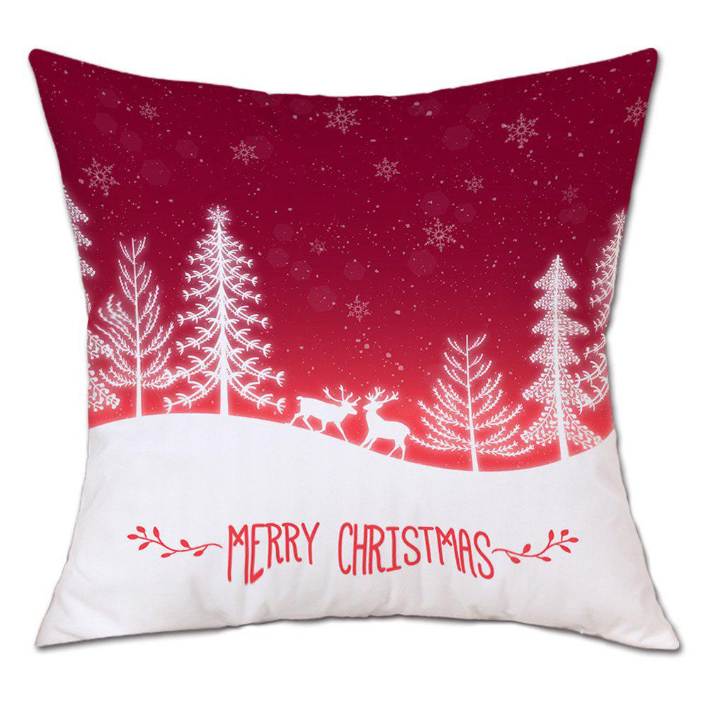Christmas Trees Deers Print Linen Sofa Pillowcase - RED W18 INCH * L18 INCH