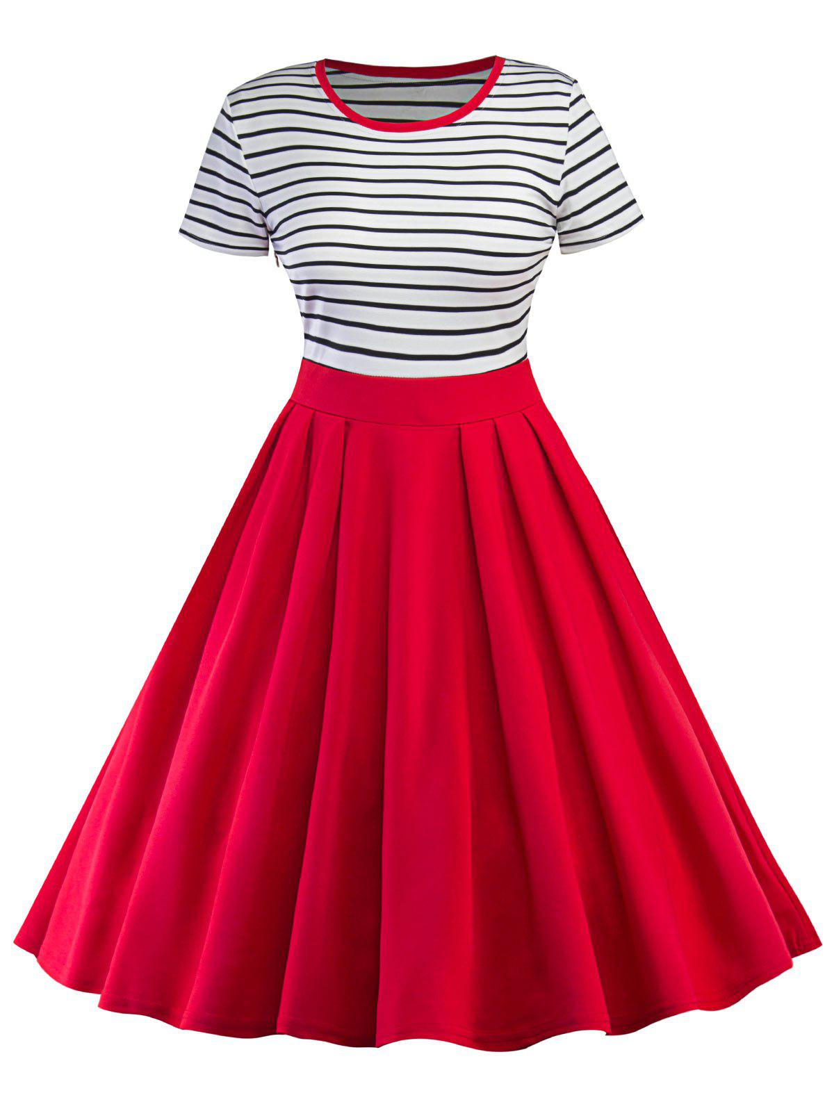 Vintage Stripe Pin Up Skater Dress цена