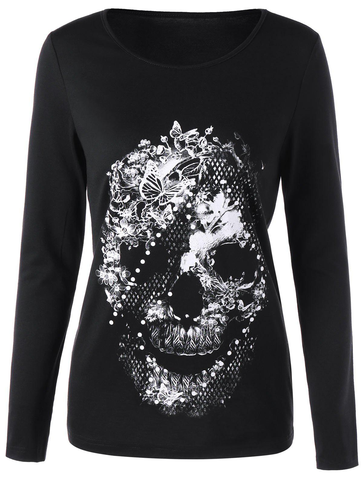 Butterfly Skull Long Sleeve T-shirt 226048904