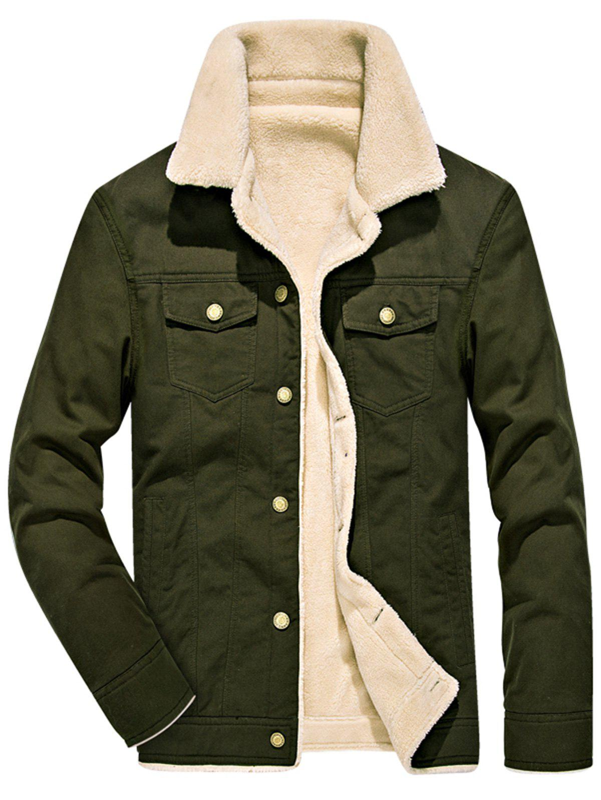 Single Breasted Faux Shearling Denim Jacket - ARMY GREEN XL