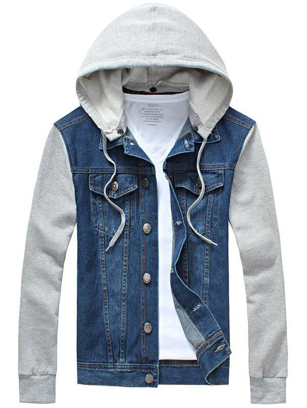 Denim Insert Jacket with Detachable Hood - BLUE 2XL