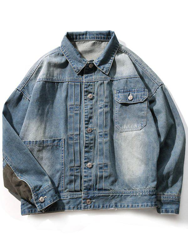 Drop Shoulder Sleeve Insert Design Denim Jacket - BLUE GRAY XL