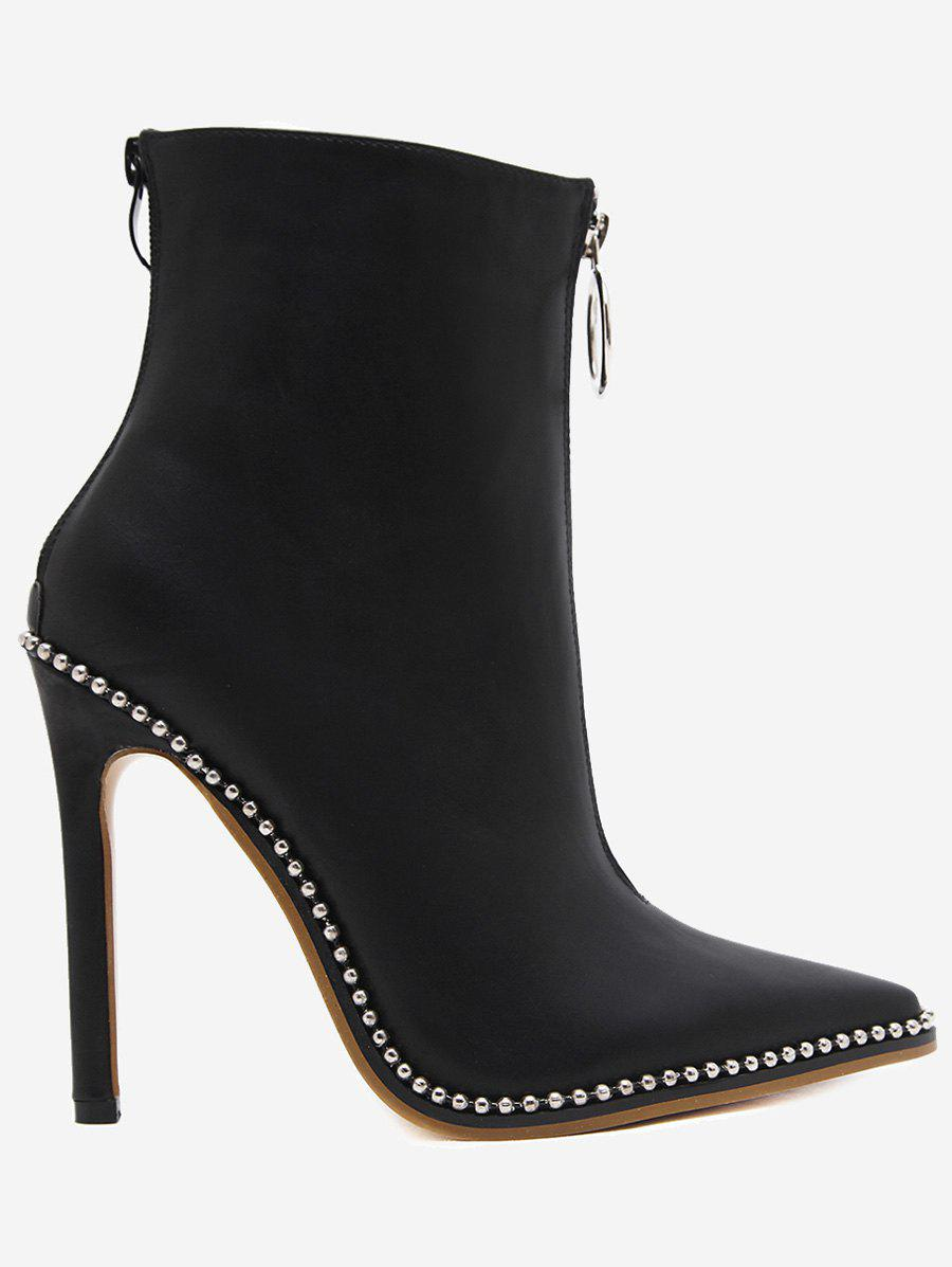 Pointed Toe Stiletto Heel Boots - BLACK 38