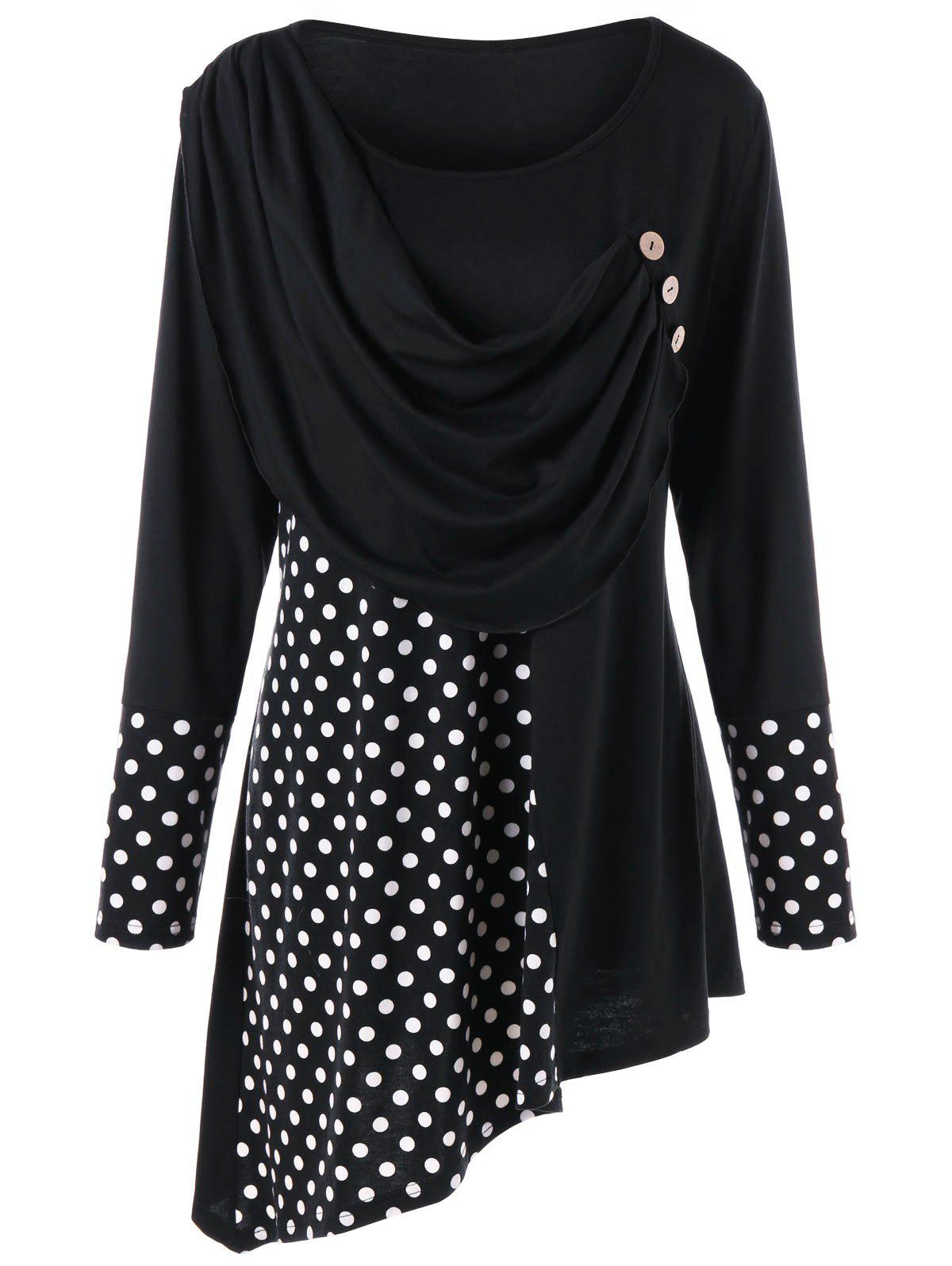 Plus Size Polka Dot Ruched Asymmetric Top - BLACK 4XL