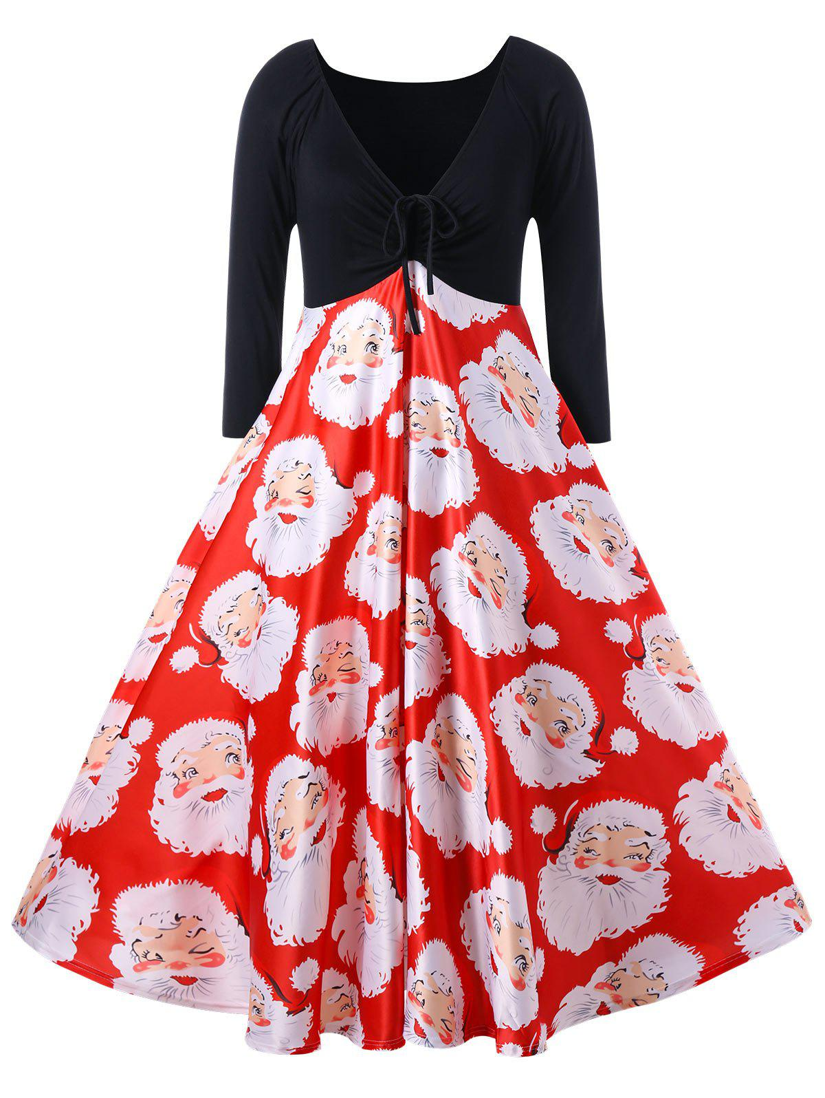 Christmas Plus Size Santa Claus Print Midi Dress шины yokohama iceguard stud ig35 235 55 r18 104t xl