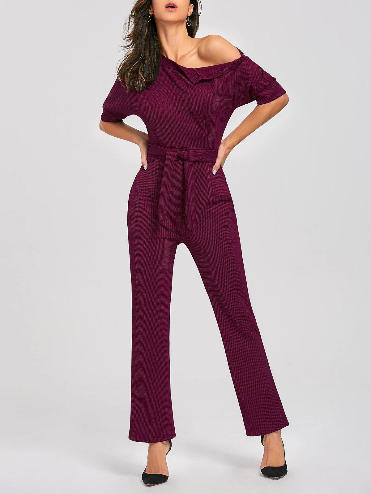 Convertible Collar Belted Jumpsuit - WINE RED XL