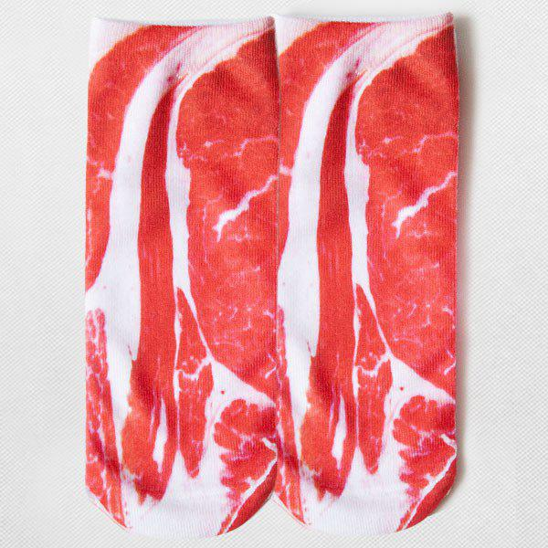 3D Cartoon Streaky Pork Embellished Ankle Socks - RED