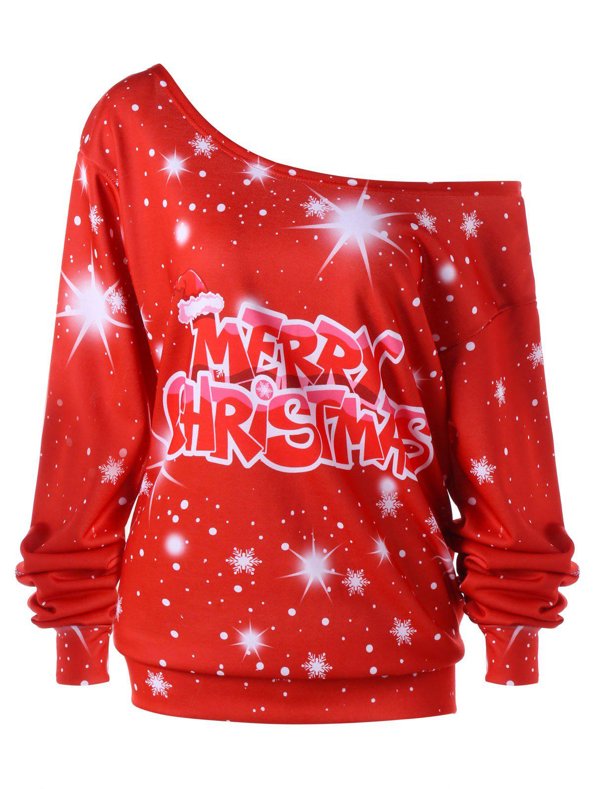 Merry Christmas Plus Size Skew Colllar Sweatshirt plus size christmas reindeer skew collar sweatshirt