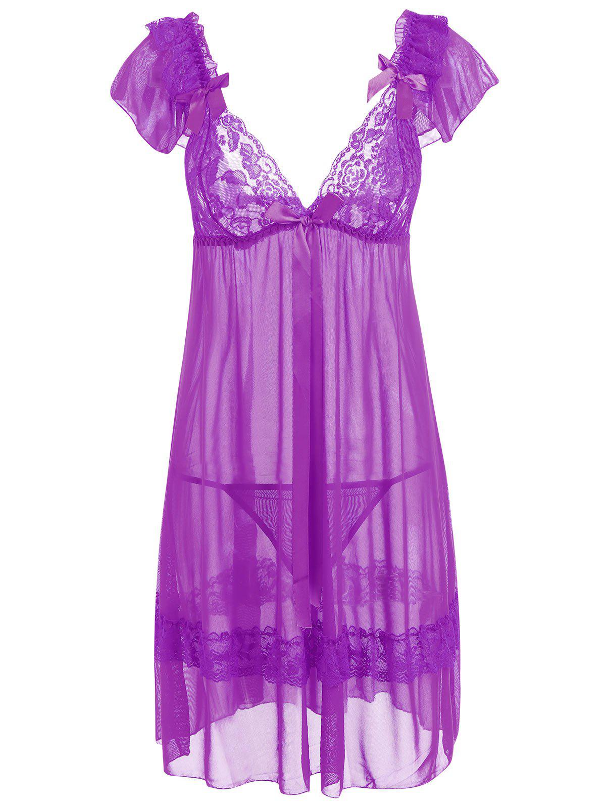 Plunge Neck Mesh Sheer Babydoll - LIGHT PURPLE ONE SIZE