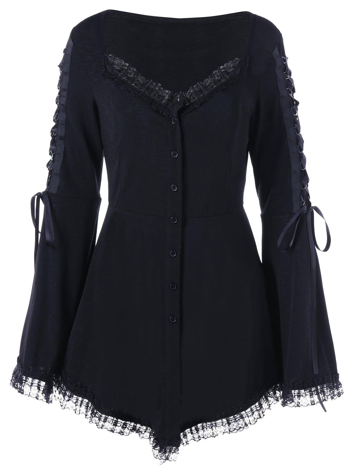 Lace Up Flare Sleeve Gothic Top - BLACK 2XL