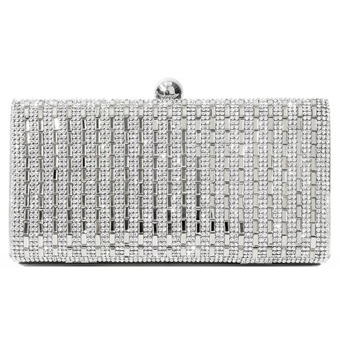 Striped Rhinestone Metal Embellished Crossbody Bag - SILVER HORIZONTAL