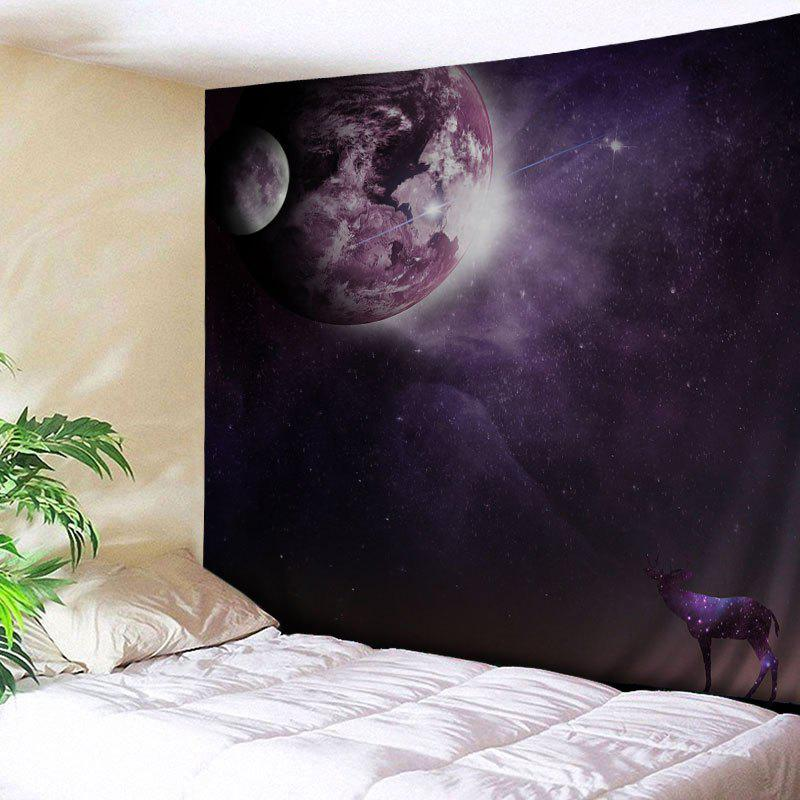 Galaxy Planet Deer Print Tapestry Wall Hanging Art - DUN W59 INCH * L51 INCH