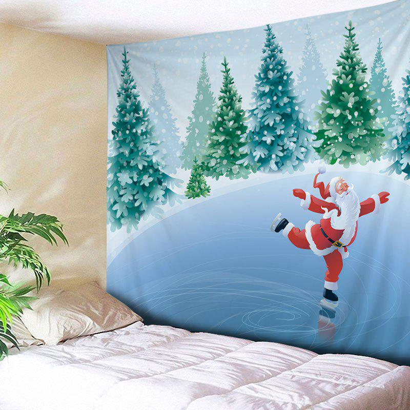 Christmas Forest Santa Print Tapestry Wall Hanging Art forest river unicorn print tapestry wall hanging art