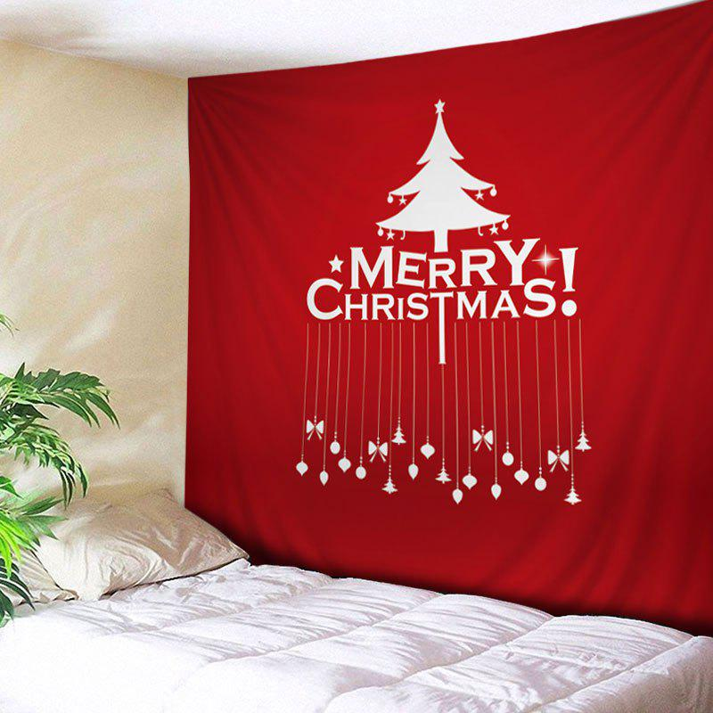 Merry Christmas Tree Print Tapestry Wall Hanging Art - RED W91 INCH * L71 INCH