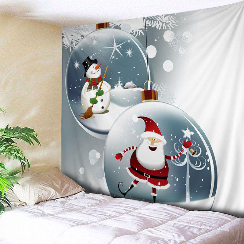 Christmas Santa Baubles Print Tapestry Wall Hanging Art - WHITE W59 INCH * L59 INCH