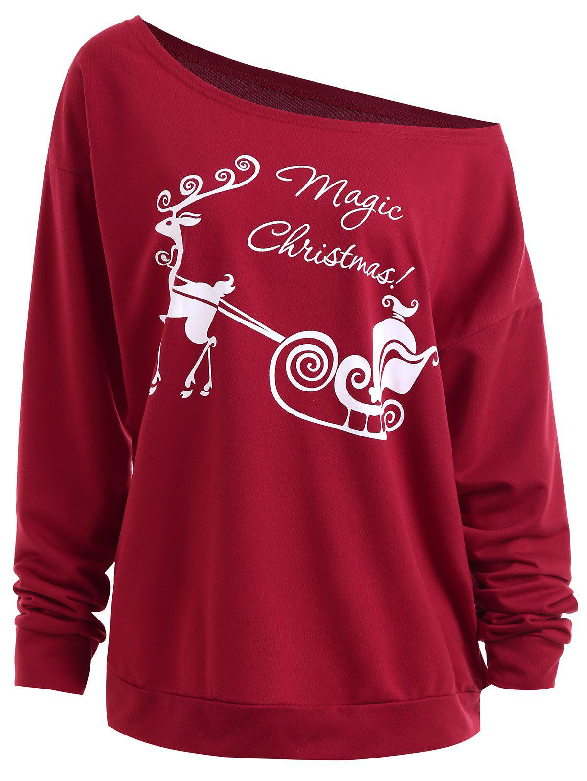 Christmas Sled Print Drop Shoulder Plus Size Sweatshirt источник света для авто wholesale led store 1 t10 194 168 w5w 1w smd