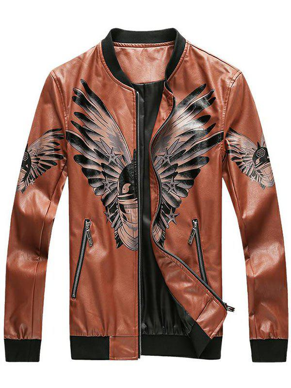 Zip Up Bird Print Faux Leather Bomber Jacket - LIGHT BROWN XL