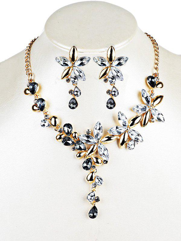Vintage Crystal Floral Embellished Necklace Earrings Jewelry Set - WHITE