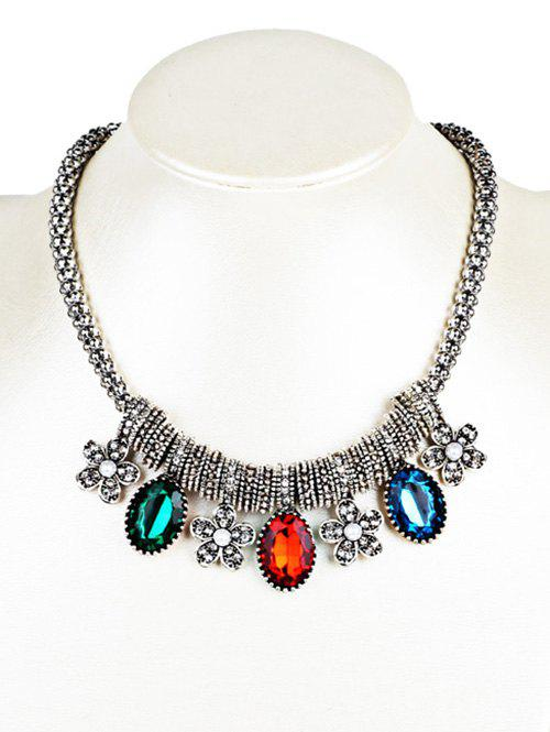 Beads Necklace with Rhinestone Floral and Artificial Gem Embellished - COLORFUL