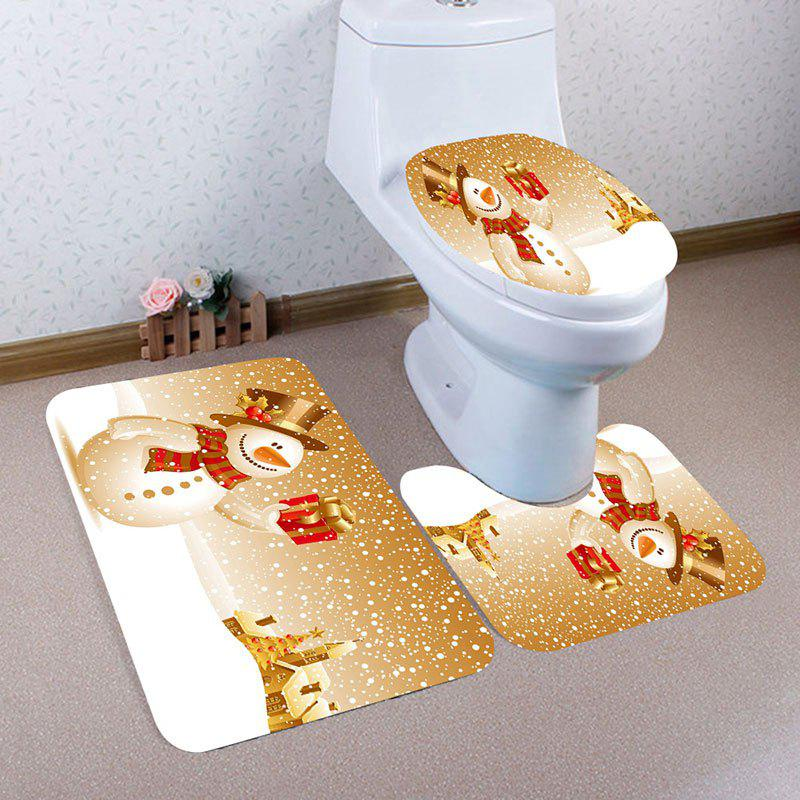 Nonslip Christmas Snowman Gift Pattern 3Pcs Bath Toilet Mats Set - EARTHY