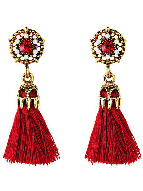 Rhinestone Embellished Faux Gem Long Tassel Drop Earrings exquisite candy color faux gem embellished flower pattern bracelet for women