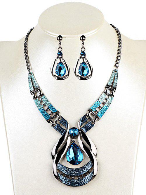 Hollow Out Water Drop Shape Embellished Faux Sapphire Jewelry Set - BLUE