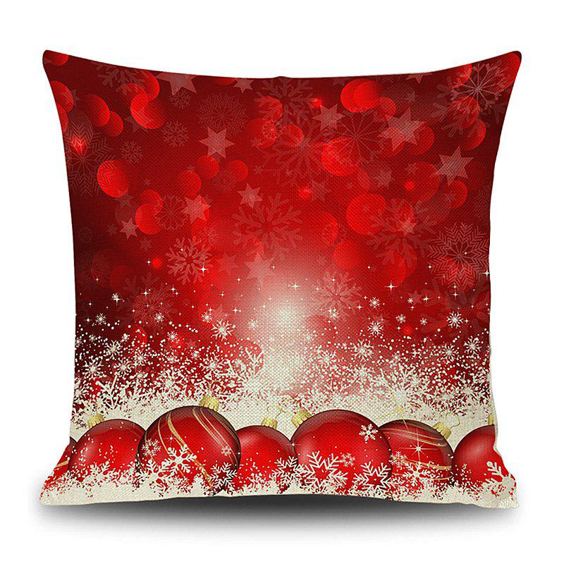 Christmas Baubles Snowflake Print Linen Sofa Pillowcase - RED 45*45CM