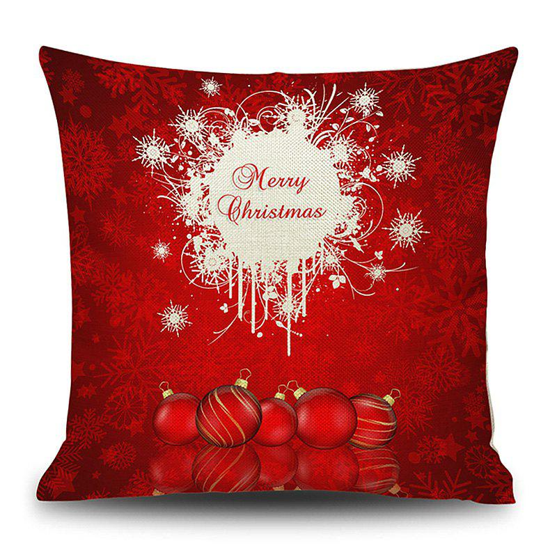 Merry Christmas Balls Print Linen Sofa Pillowcase - RED 45*45CM