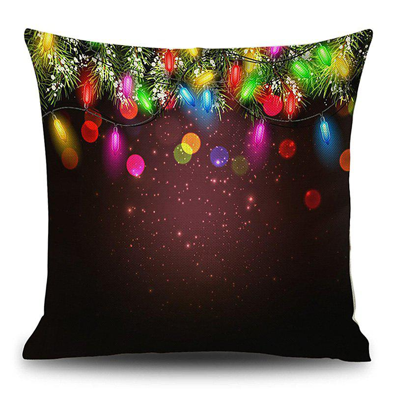 String Lights Christmas Print Linen Sofa Pillowcase - COLORMIX 45*45CM