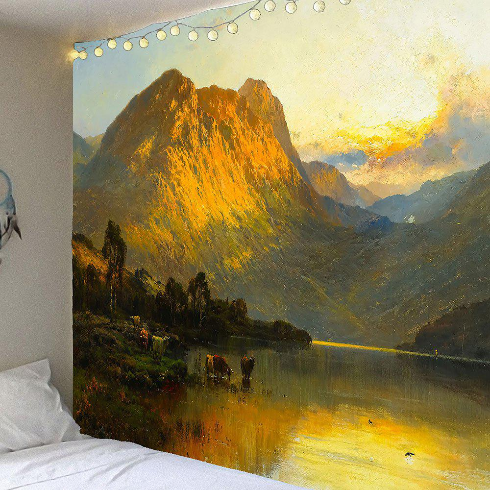 Wall Art Lakeside Mountains Scenery Printed Tapestry - GRAY W59 INCH * L51 INCH