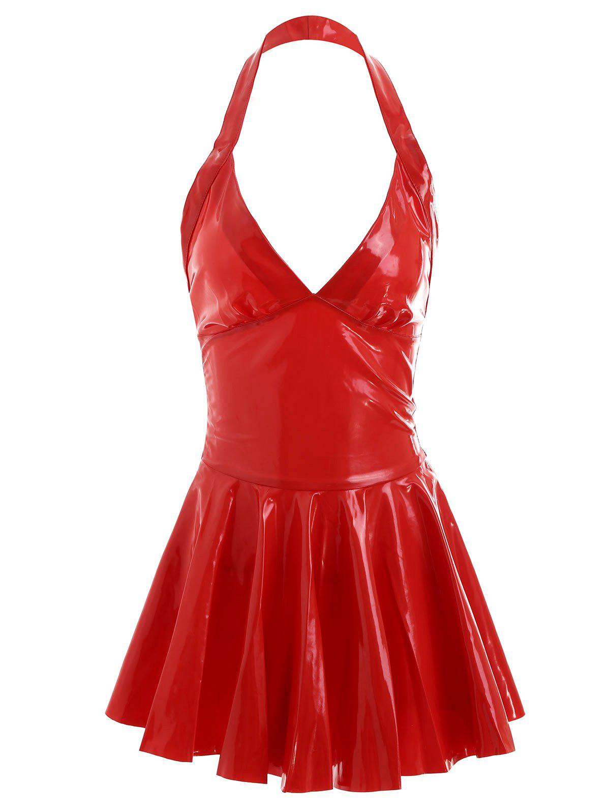 Backless Halter Fake Leather Skater Dress - RED L