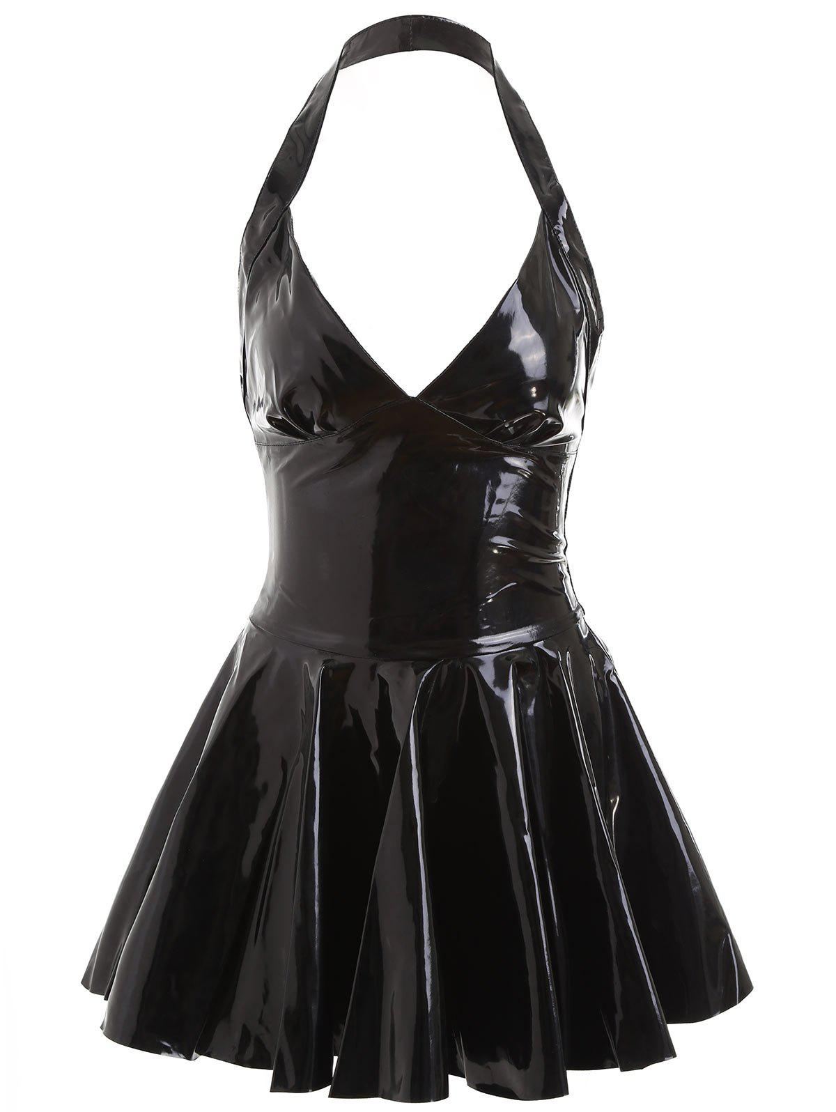 Backless Halter Fake Leather Skater Dress - BLACK M