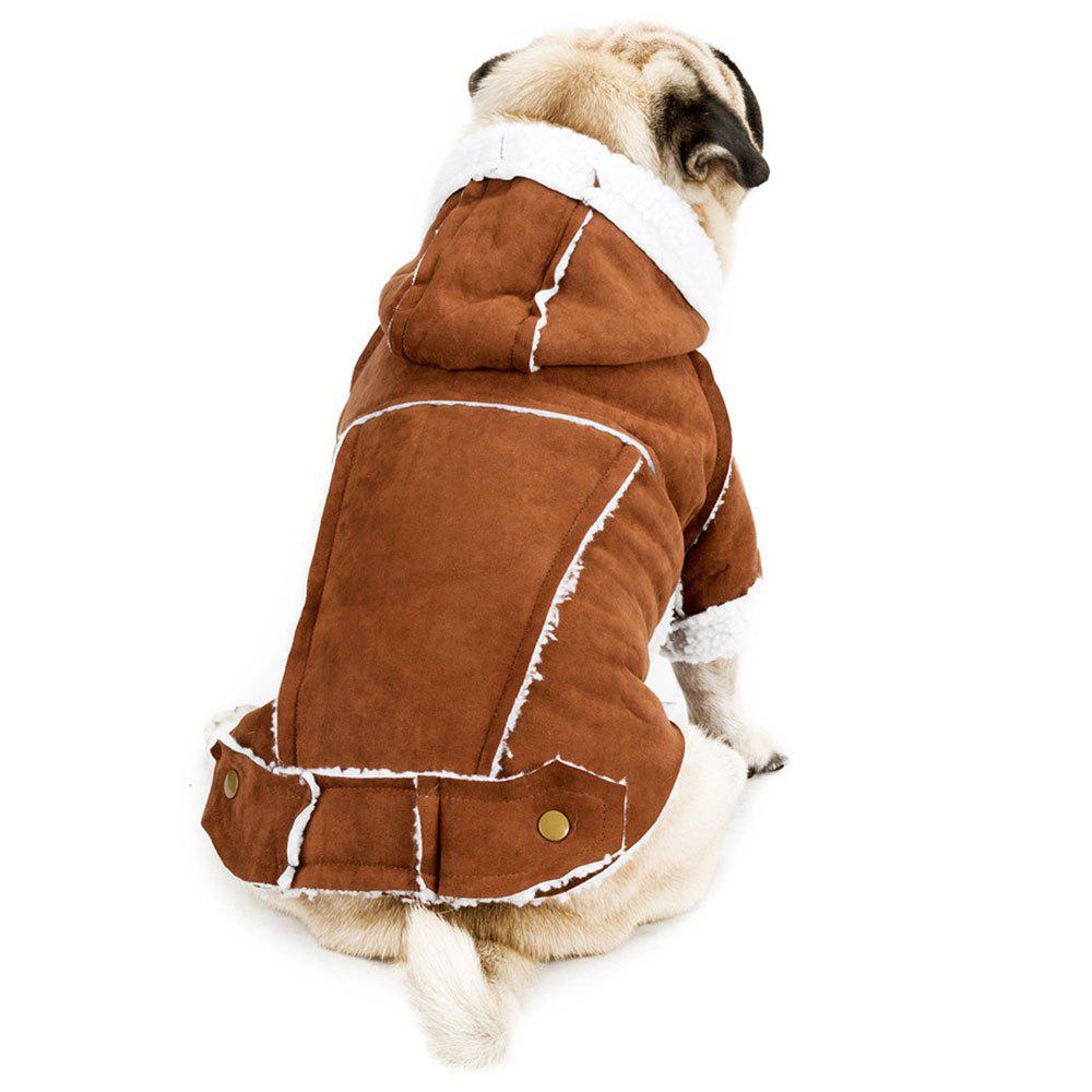 British Style Berber Fleece Suedette Hooded Clothes for Dog - BROWN XL