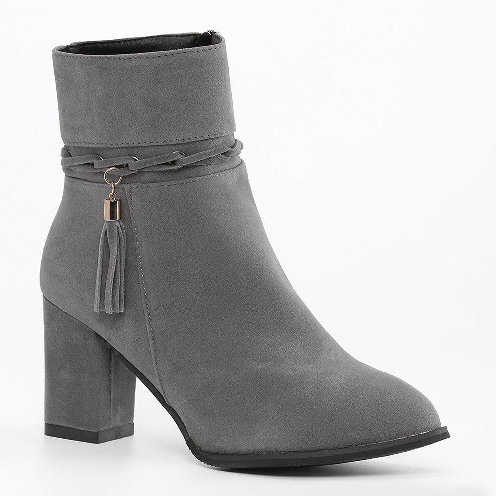 Block Heel Side Zip Tassel Ankle Boots - GRAY 39