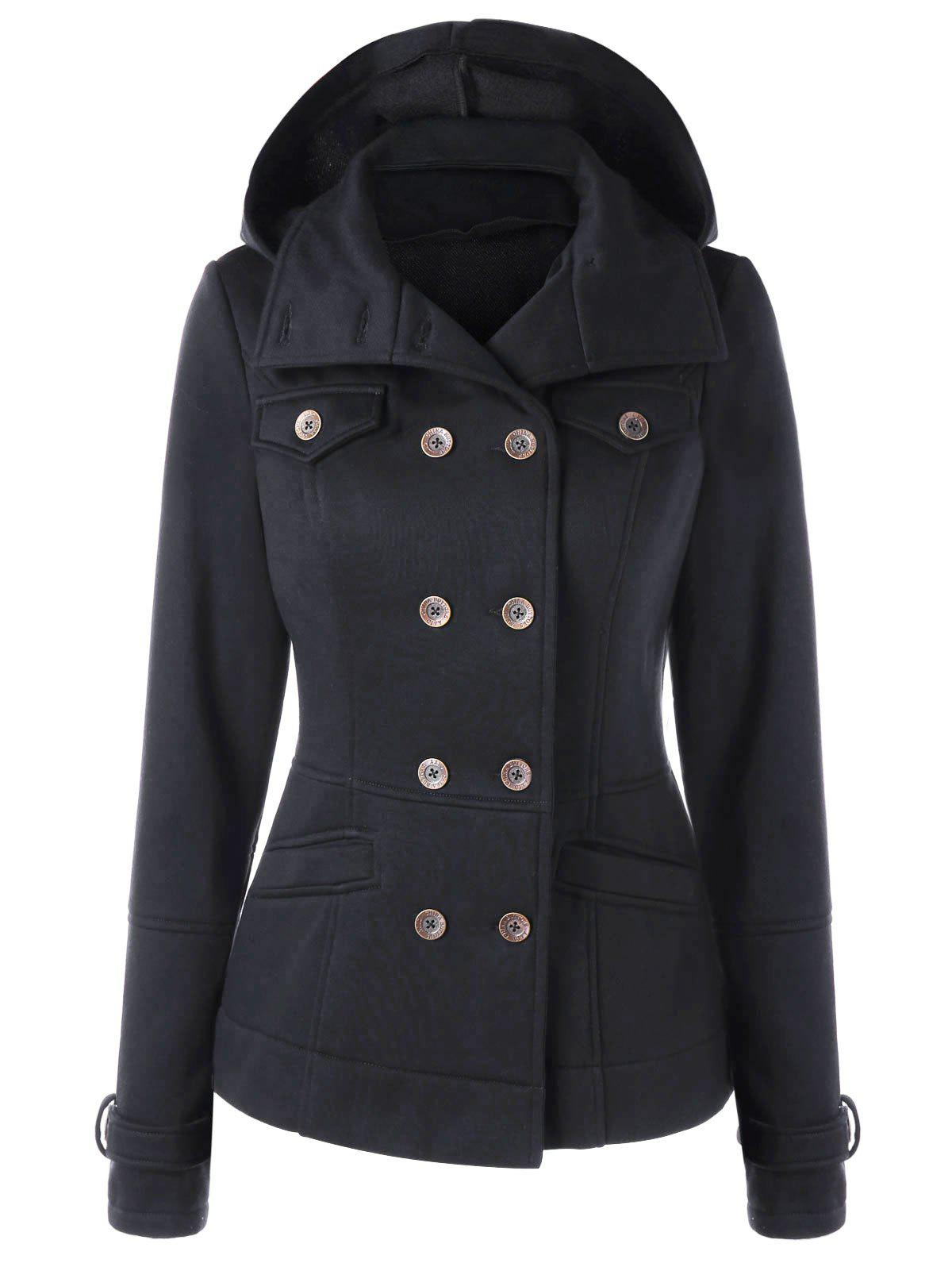 Hooded Slim Pea Coat - BLACK XL