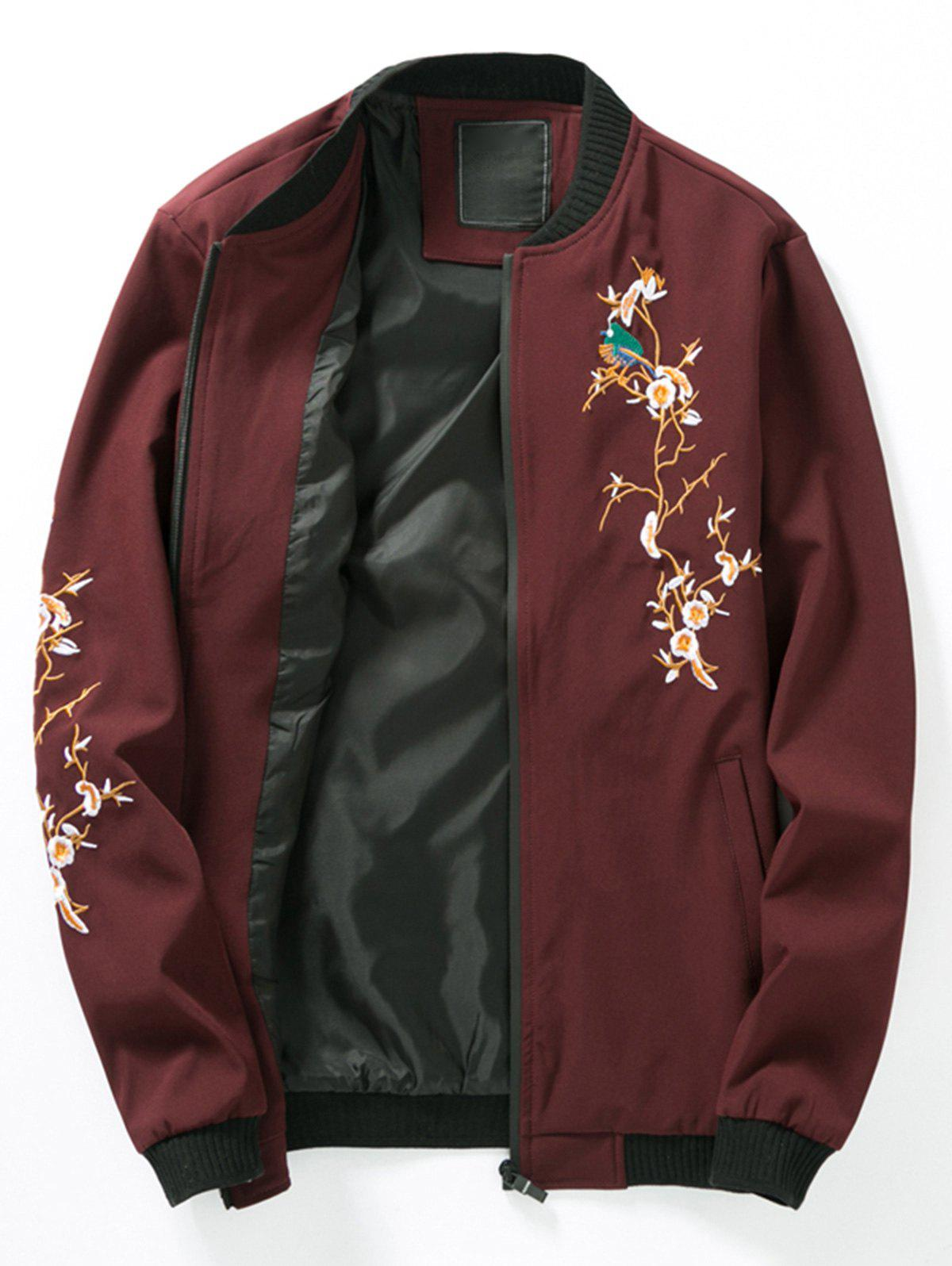 Florals Embroidered Rib Panel Bomber Jacket - CLARET L