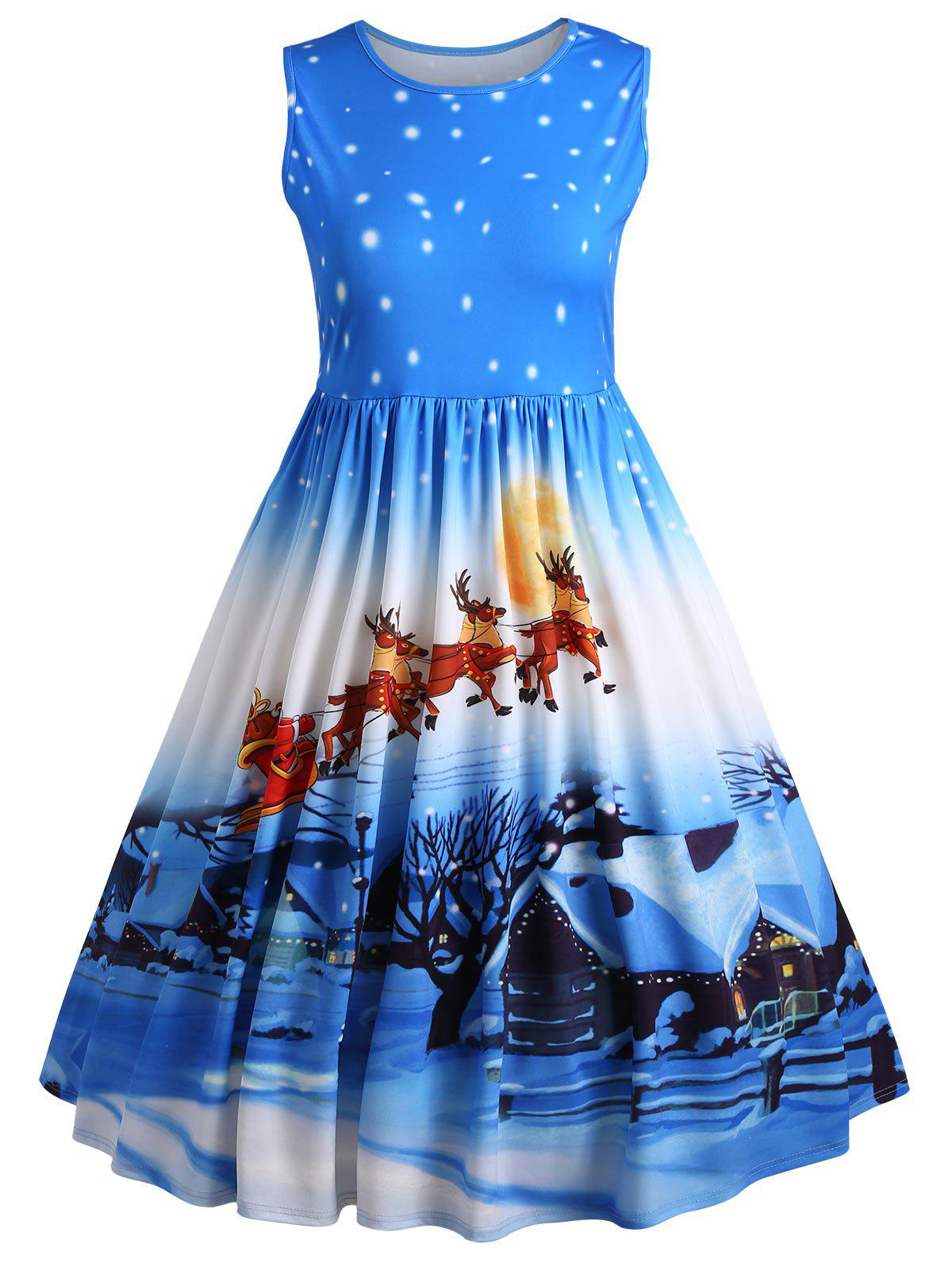 Plus Size Christmas Deer Midi Sleeveless Vintage Dress