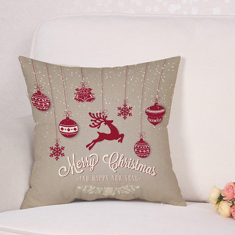Christmas Baubles Deer Print Linen Sofa Pillowcase - COLORMIX W18 INCH * L18 INCH