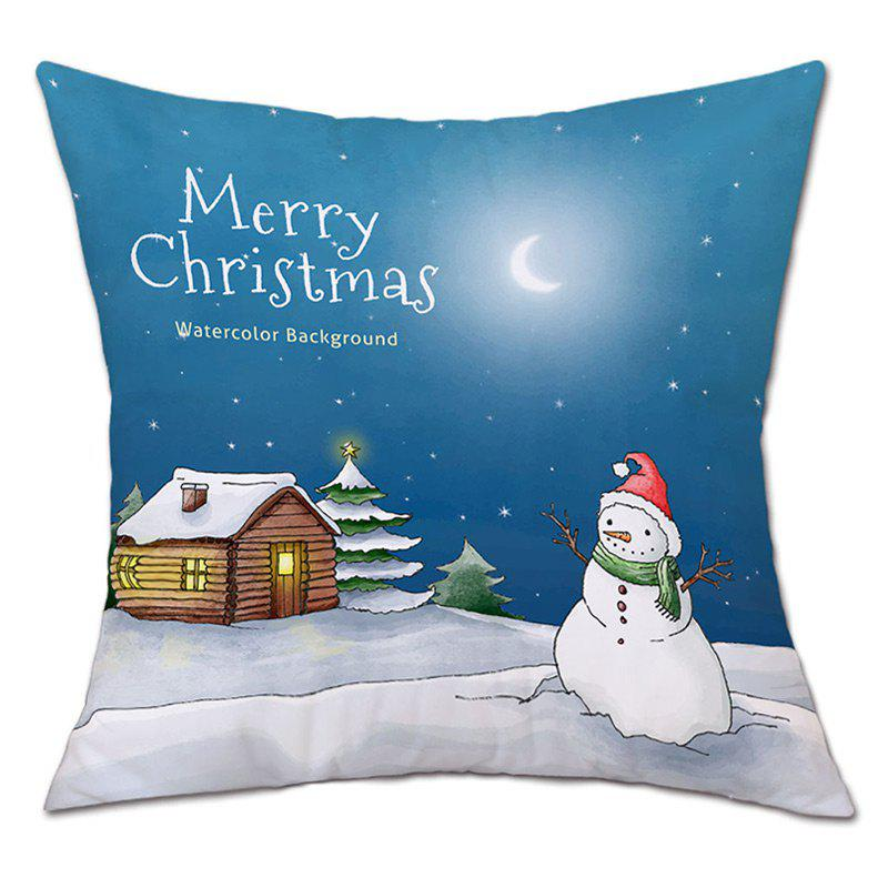 Christmas Night Snowman Print Linen Sofa Pillowcase snowy christmas gifts print linen sofa pillowcase